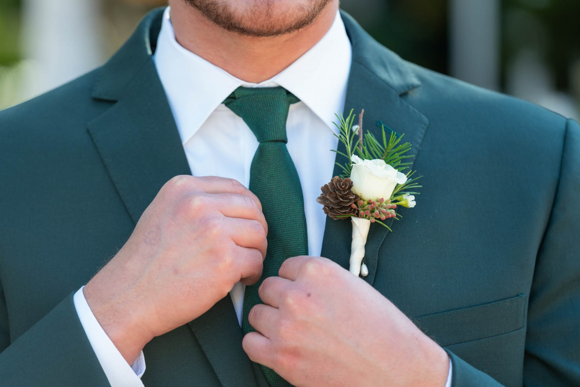 Top Tuxedo Color Trends from Friar Tux. Emerald Green Suit and Tie for groom