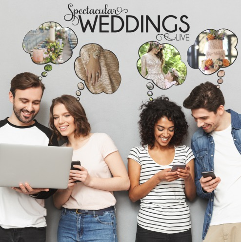 couples planning their weddings on their mobile devices and dreaming about their perfect day