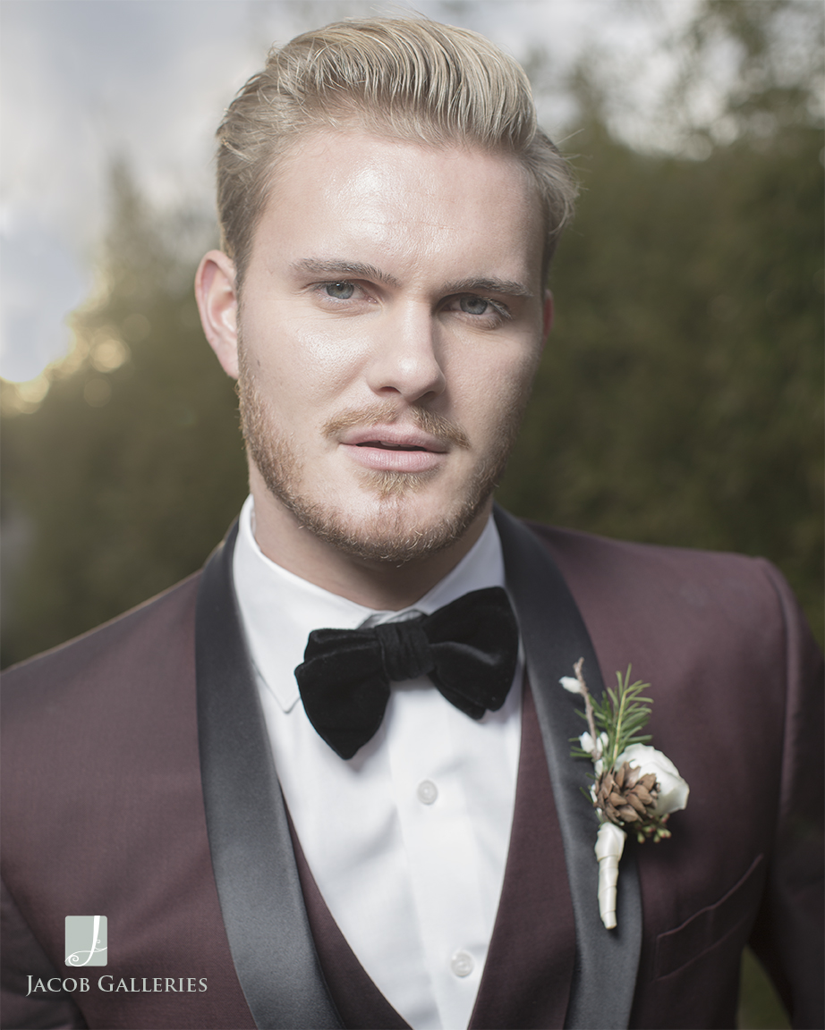 Bridal Spectacular groom wearing burgundy Friar Tux
