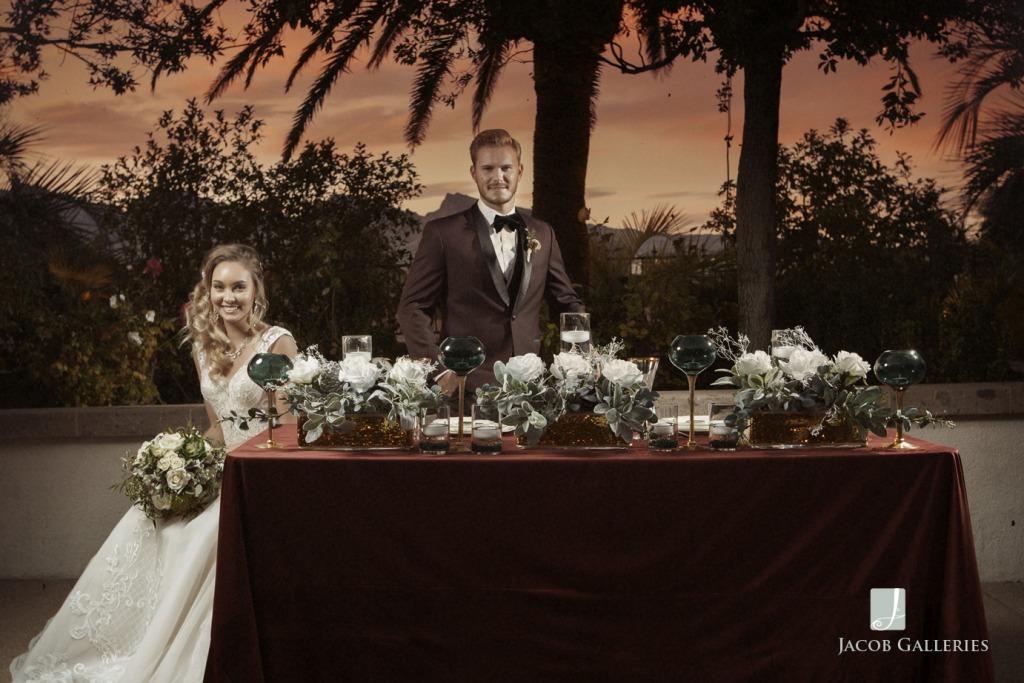 Bridal Spectacular Happy couple at sunset at Las Vegas Wedding venue Emerald at Queensridge.