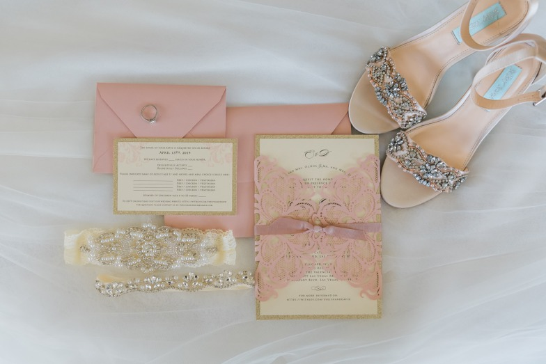 Delicate vintage inspired wedding dusty pink and cream lace wedding invitations