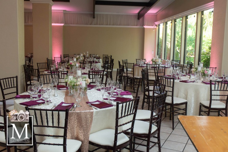 Black, white and puple reception at Golden Knights themed wedding