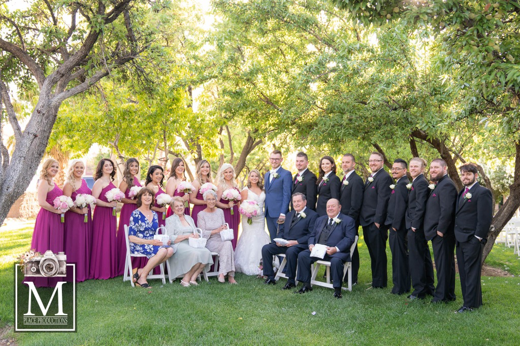 Family celebration at wedding at the grove