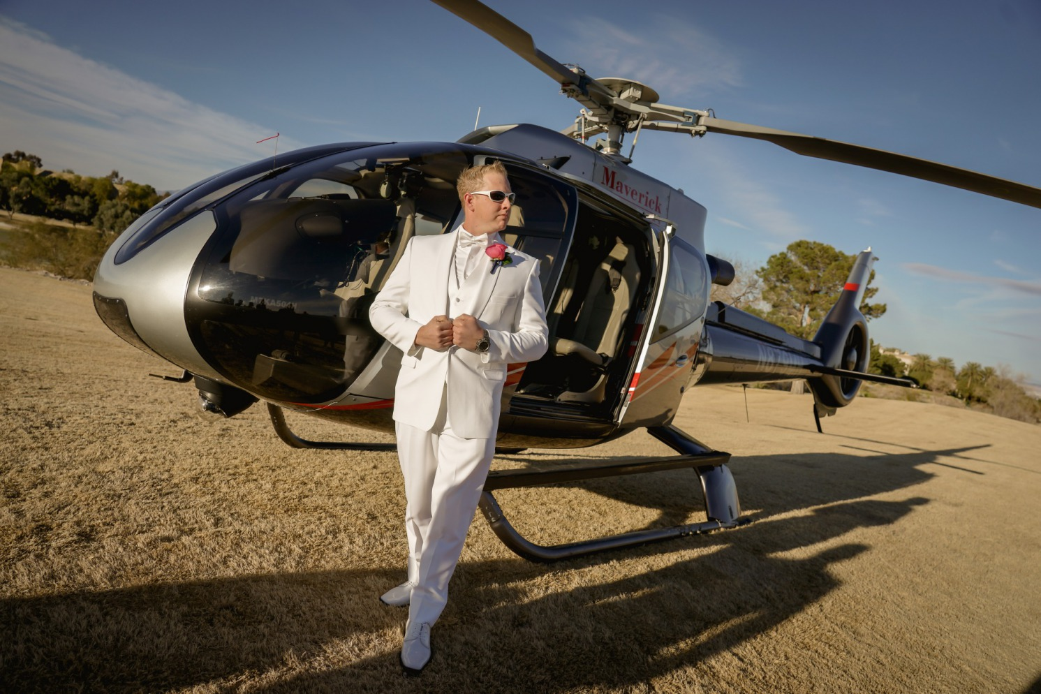Groom arriving by helicopter