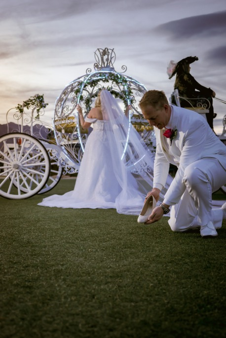 Cinderella Fairytale wedding groom with slipper