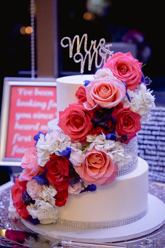 Blue and pink white layered cake