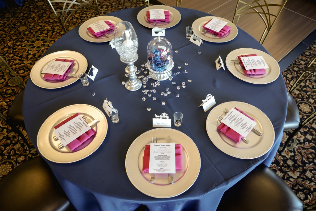 Blue and pink table setting