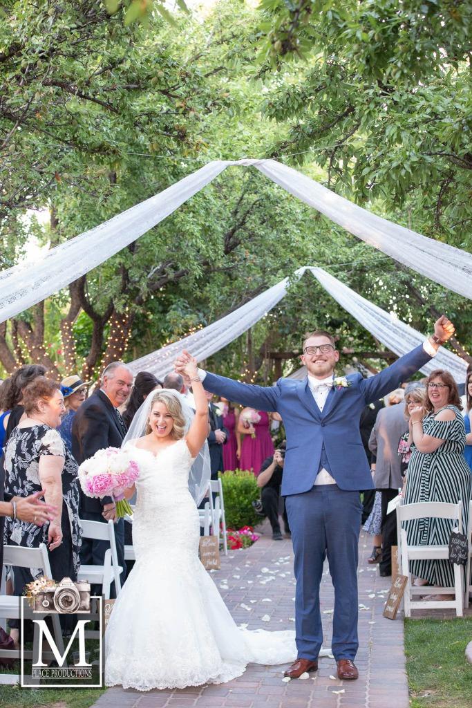Beautiful Garden Wedding Just Married Couple