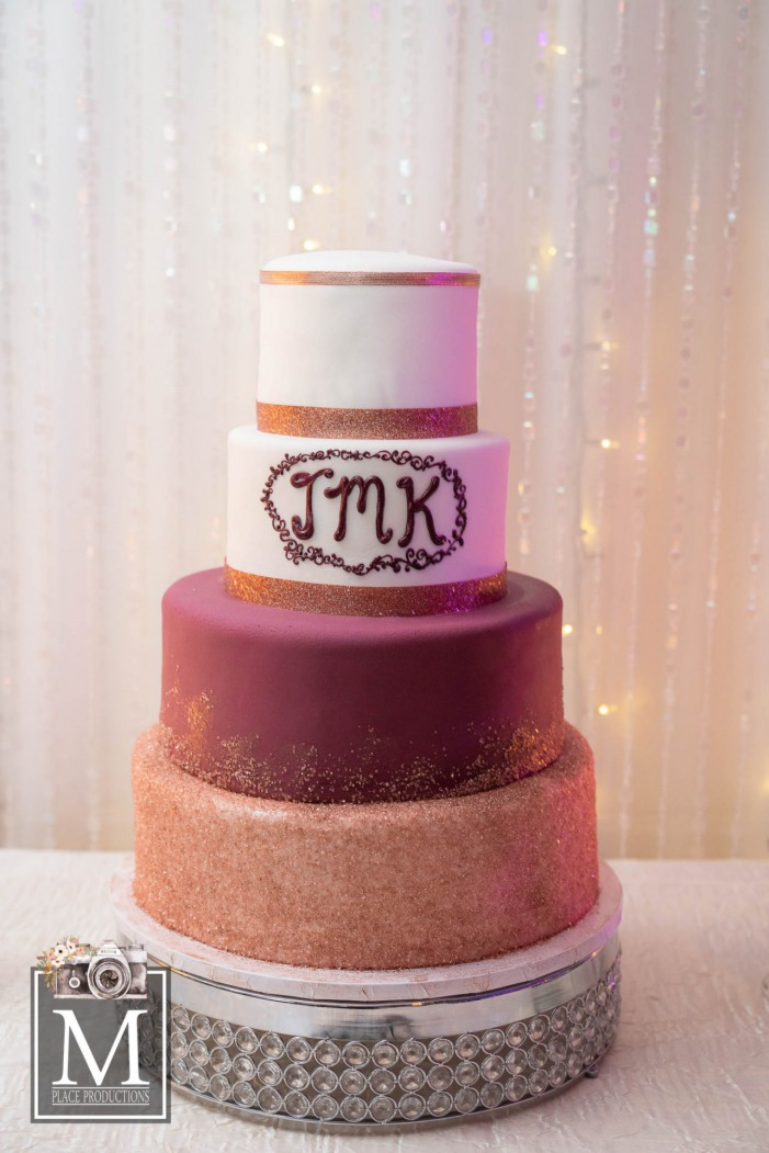 Purple and Gold Las Vegas Golden Knights Wedding Cake