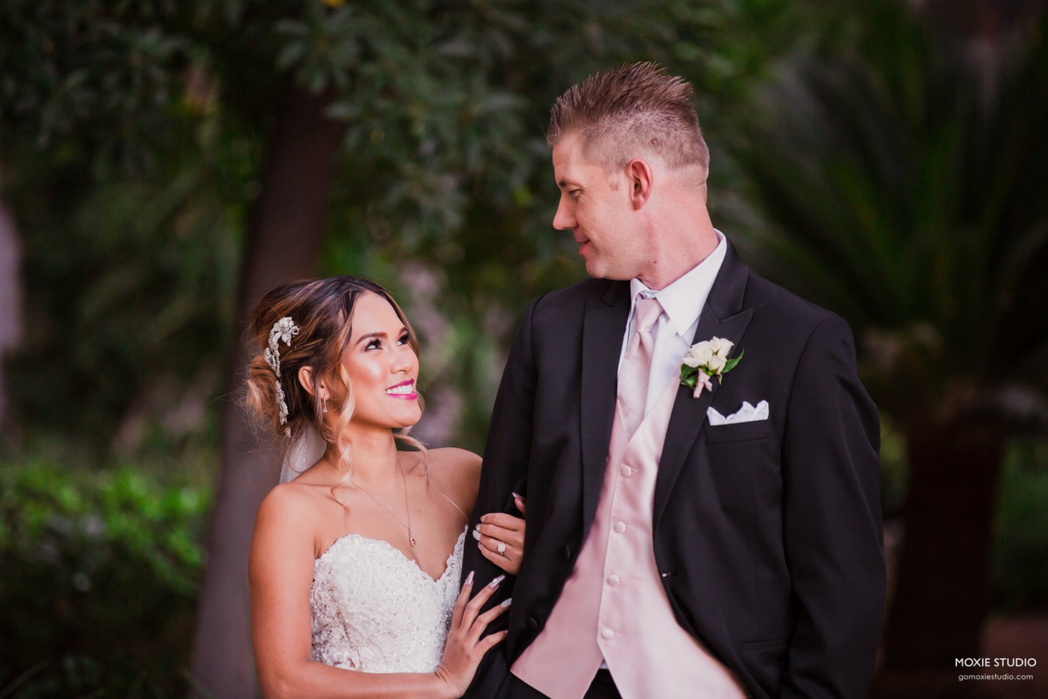Couple at wedding on private residence.