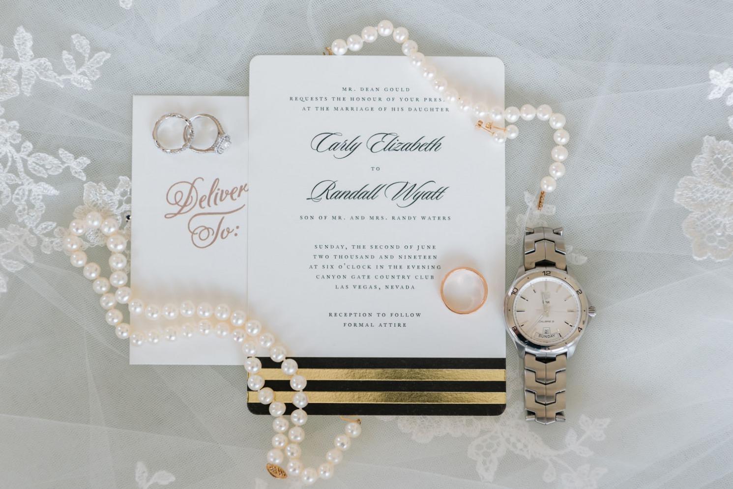 White, Black & Gold Invitation