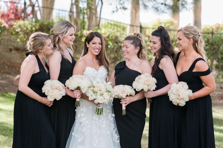 Bride with Bridemaid in Black