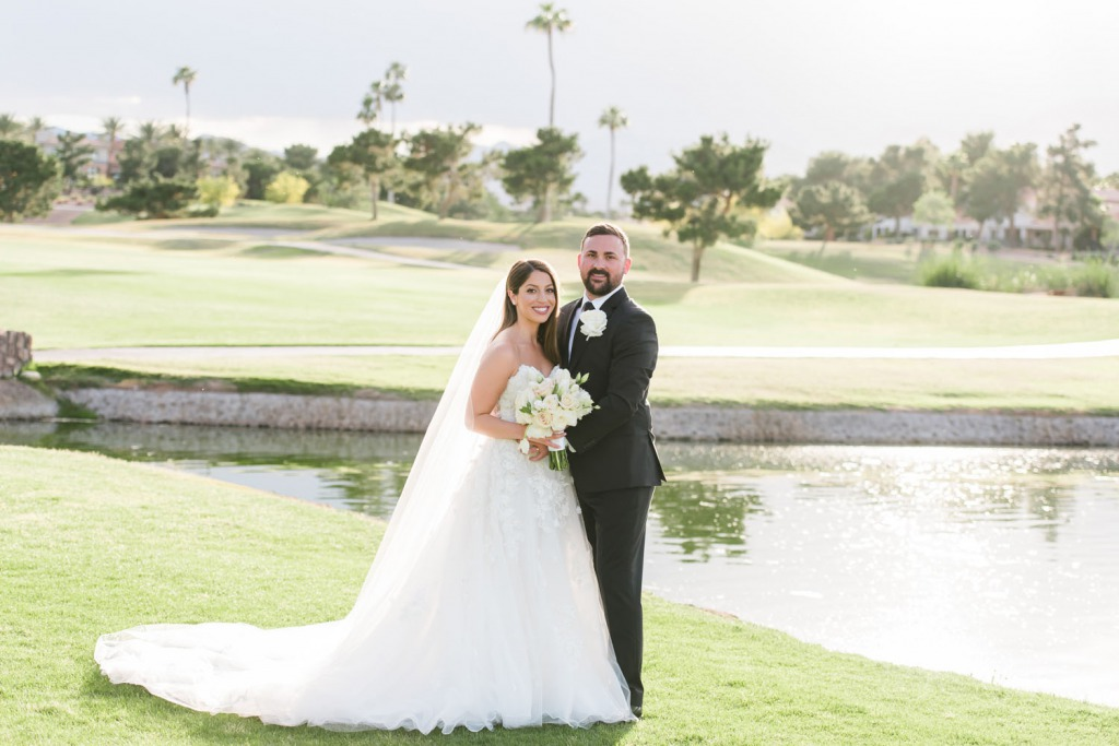 Just married happy bride and groom at canyon gate country club