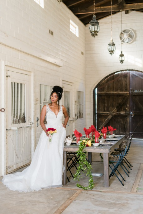 Bride in Brilliant Bridal gown at The Farm