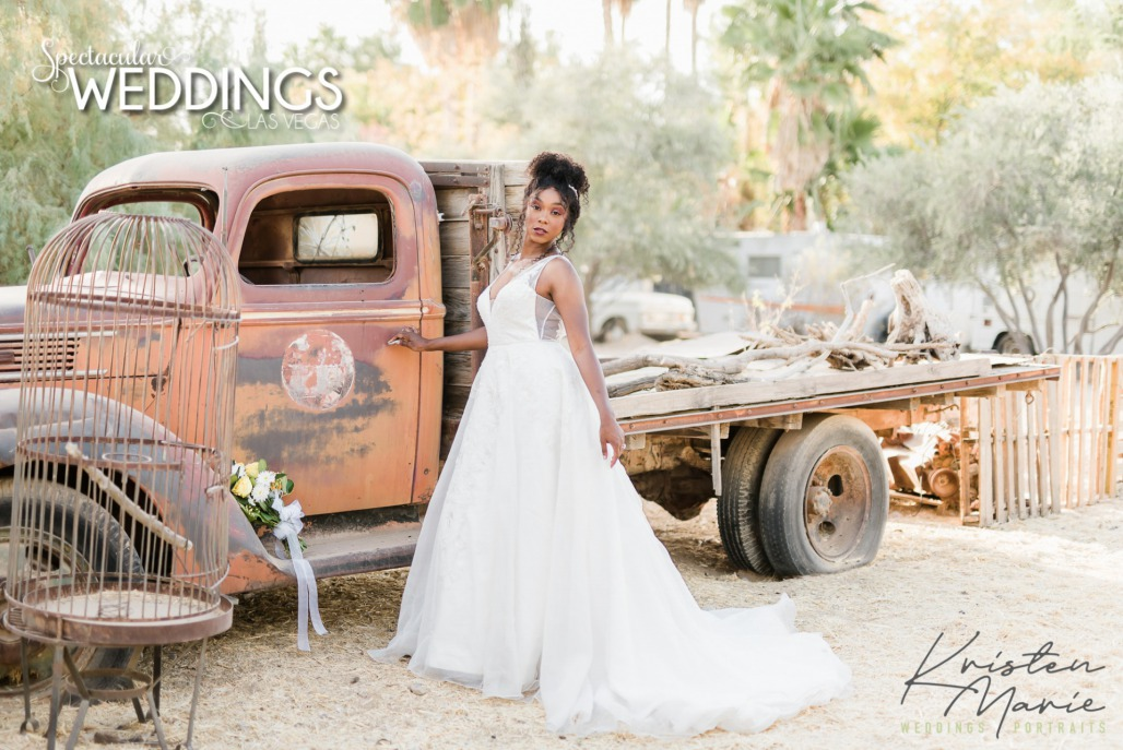 bride by vintage rustic chic truck at the Farm in Brilliant Bridal Gown