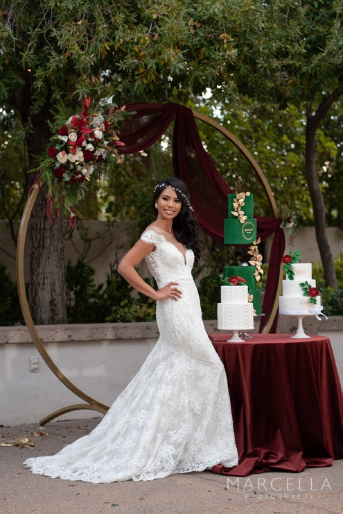 Bride at emerald at queensridge wearing Lovest outdoors