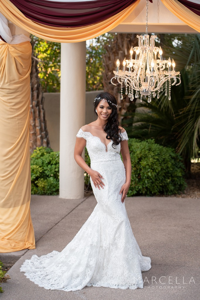 Bride wearing lovest gown at Emerald at Queensridge