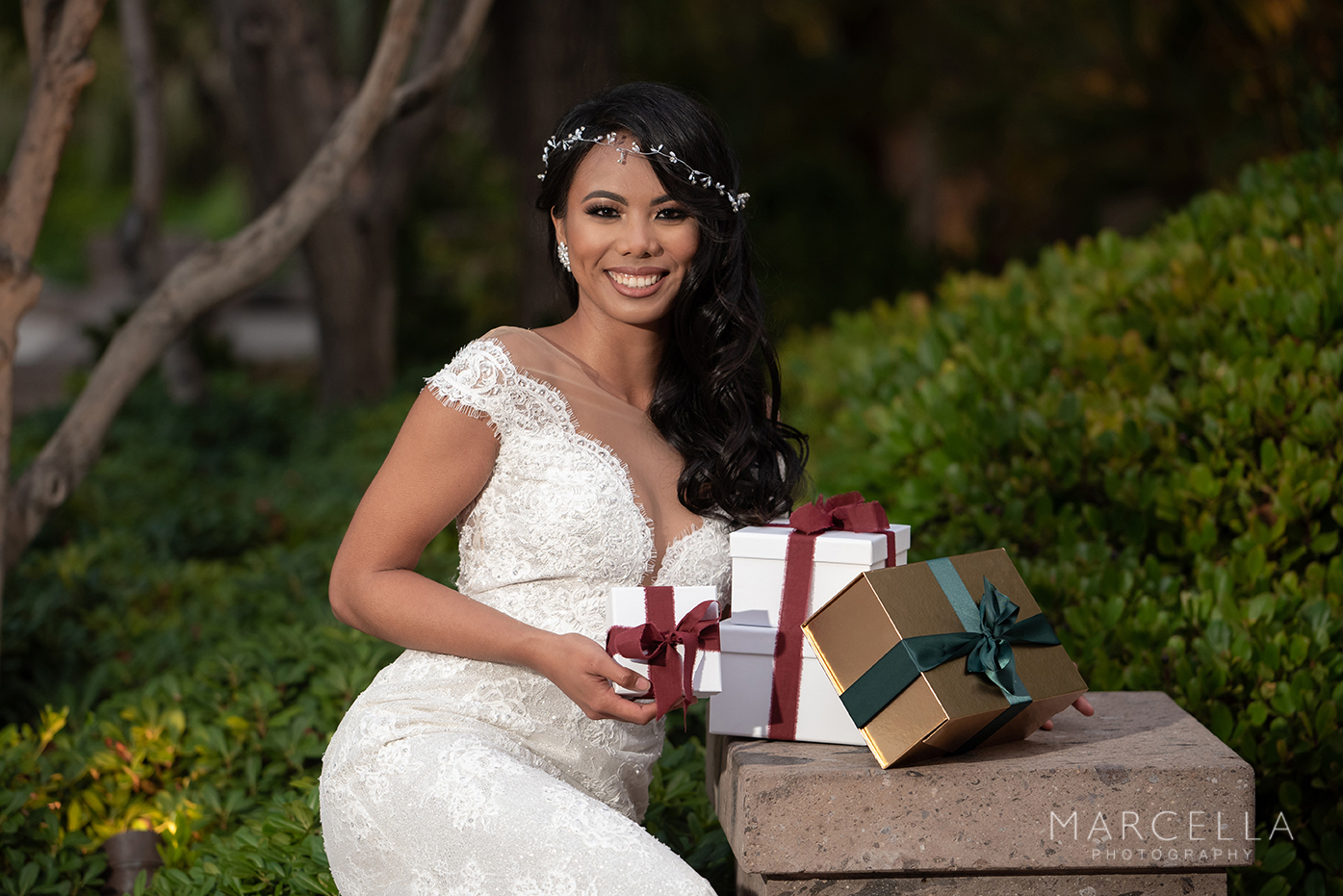 Present holding bride at emerald at queensridge wearing lovest