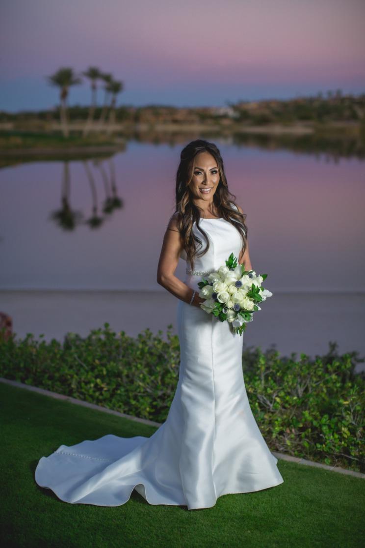 Bride at sunset at Reflection Bay Golf Club