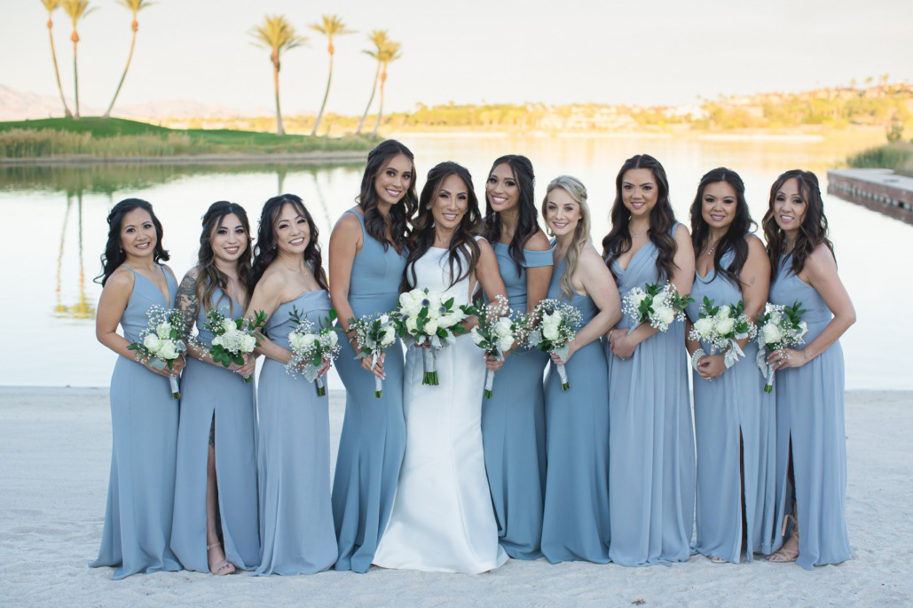 Blue and Silver wedding bridesmaid gowns