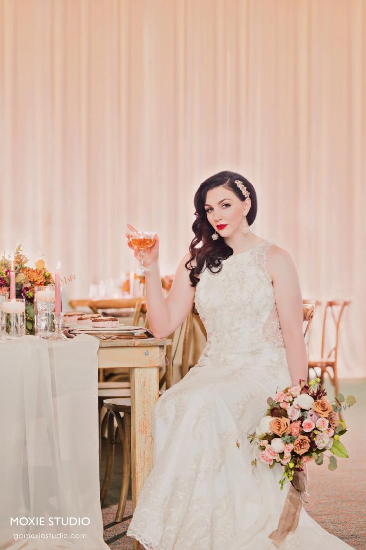 Beautiful elegant bride at DragonRidge Country Club.