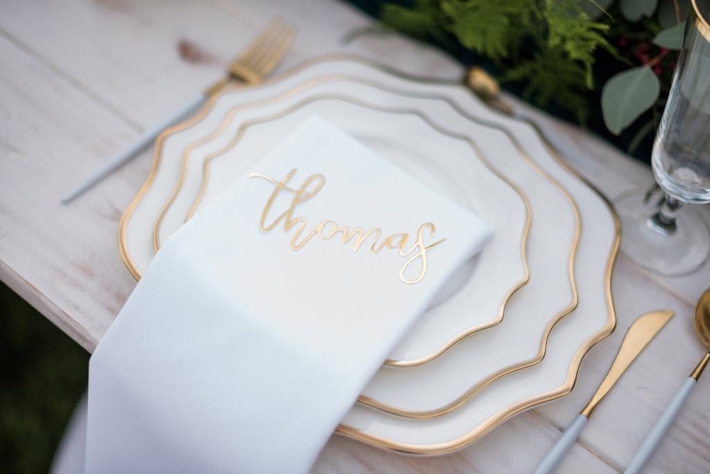 Festive Winter Gold and White Table Setting