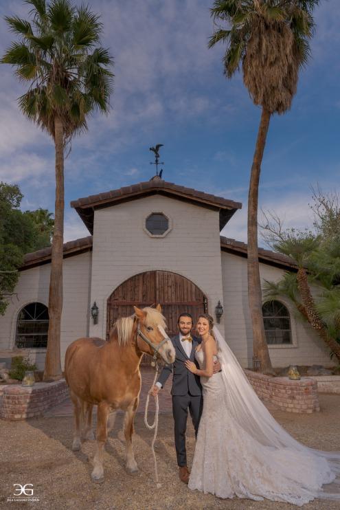 Elegant bride on the Las Vegas Farm
