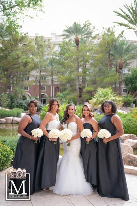 Bridal party in a elegant Las Vegas wedding