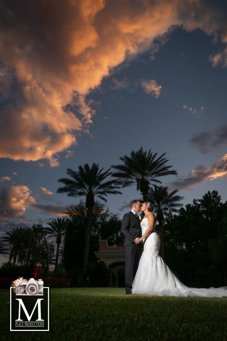 Bride and Groom outside at their elegant Las Vegas wedding