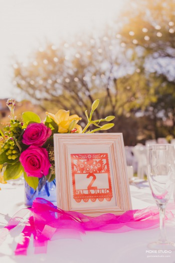 Colorful fiesta-inspired table number