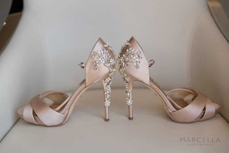 Pink wedding shoes with diamonds