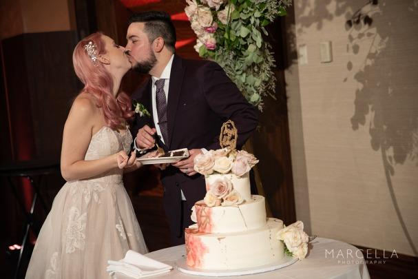 Pop of pink wedding cake