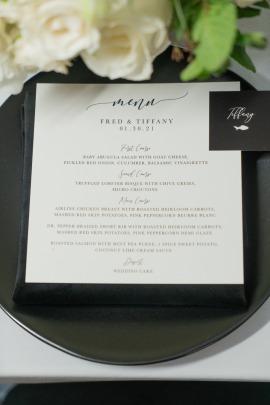 Black and white menu card set at the Lotus House
