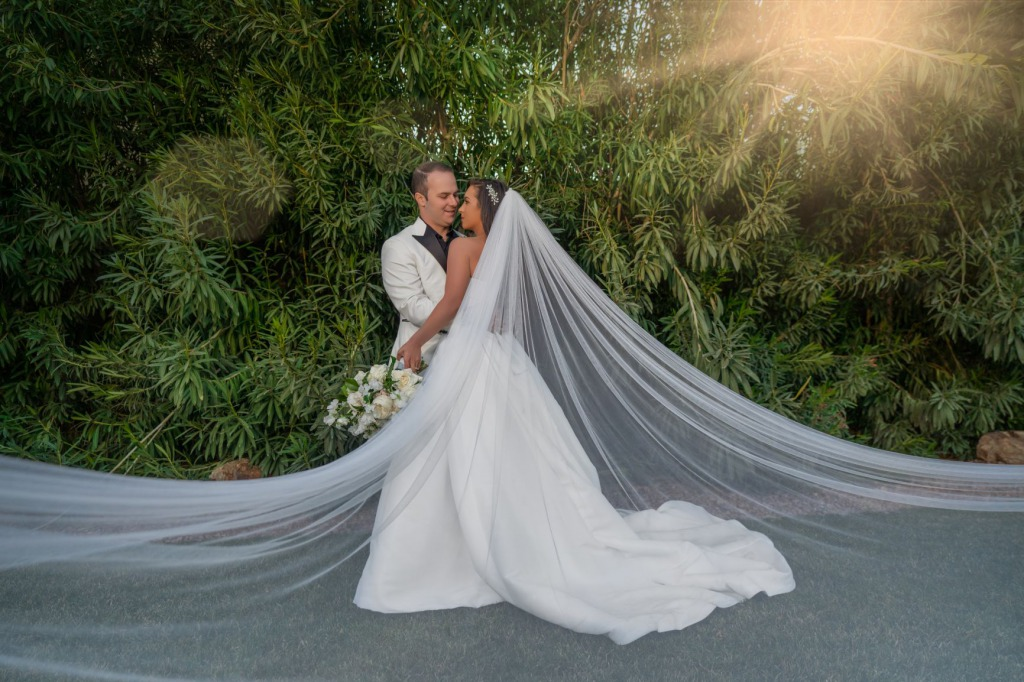 Couple at their outdoor intimate Las Vegas wedding at the Lotus House.