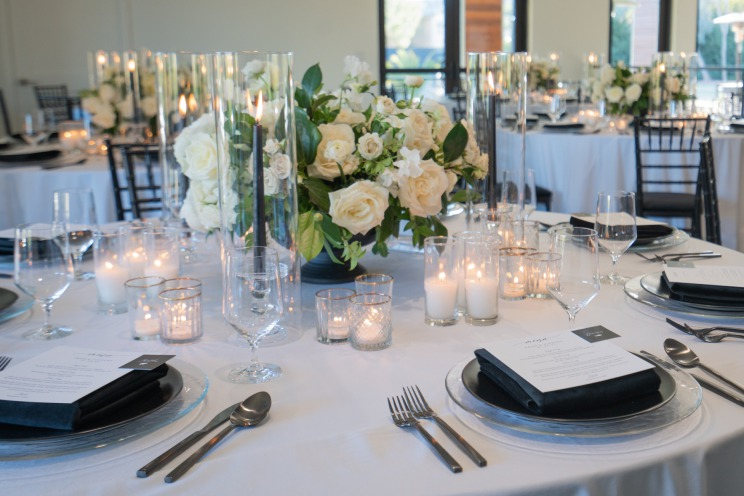 Black and white table setting at the Lotus House