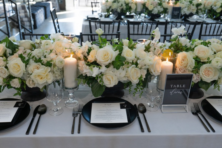 Black and white intimate wedding at the Lotus House.