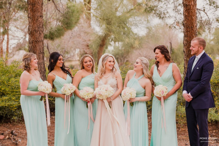 Bride with bridal party wearing mint green