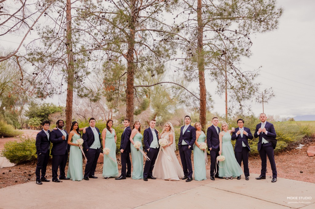 Modern mint green pops of bridal party fashion
