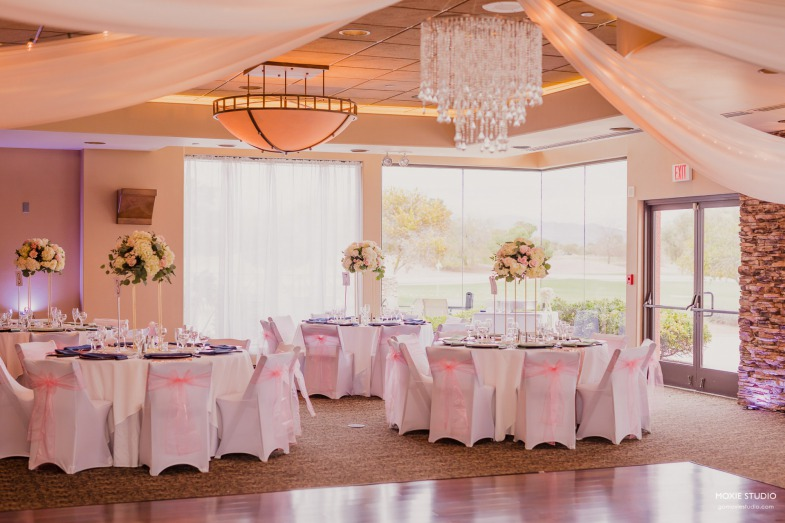 Modern mint green table accents paired with pink and navy