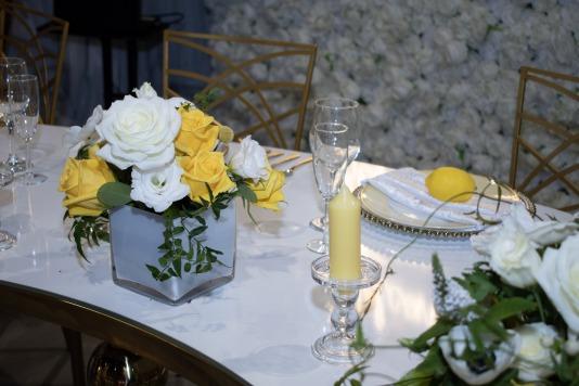 Cute Lemon details in Westin Lake Las Vegas yellow and white wedding booth