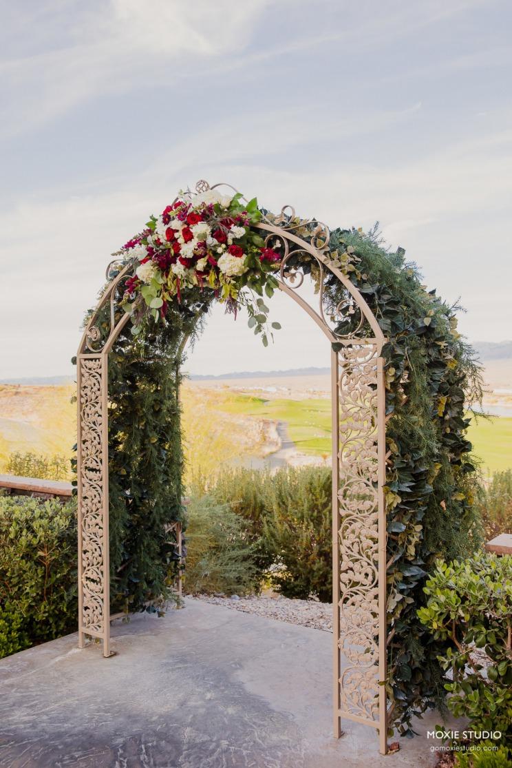 Burgundy Wedding with Paiute Golf Resort Backdrop
