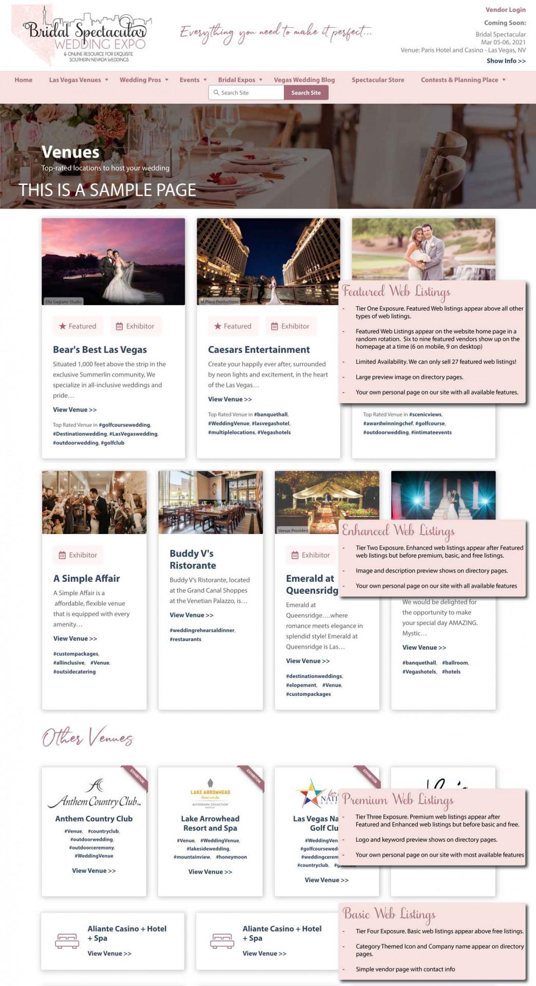 samples of web listings