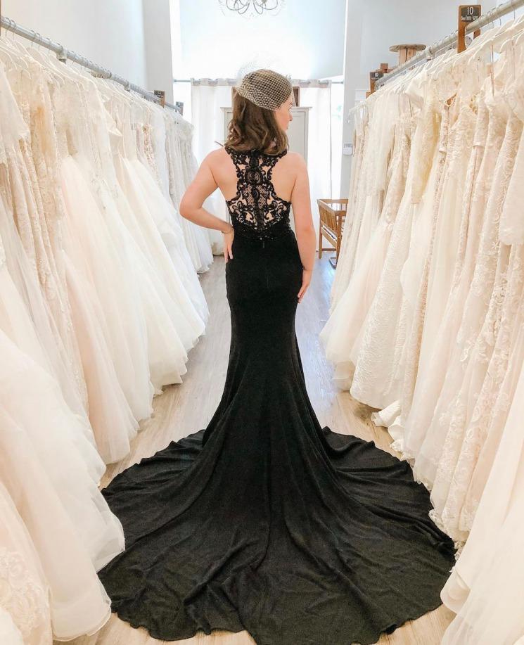 Elegant combination black wedding dress
