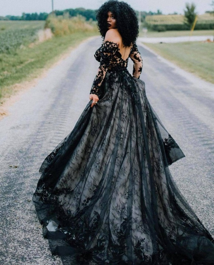 Dramatic black lace wedding dress