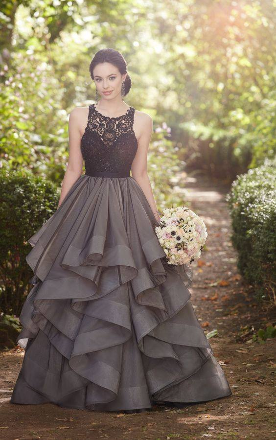 Black and grey wedding dress