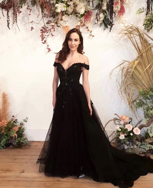 Airy ballgown black wedding dress