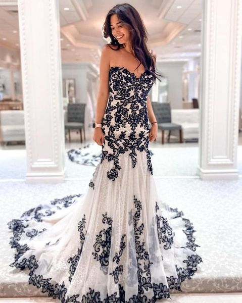 Black & white lace wedding gown