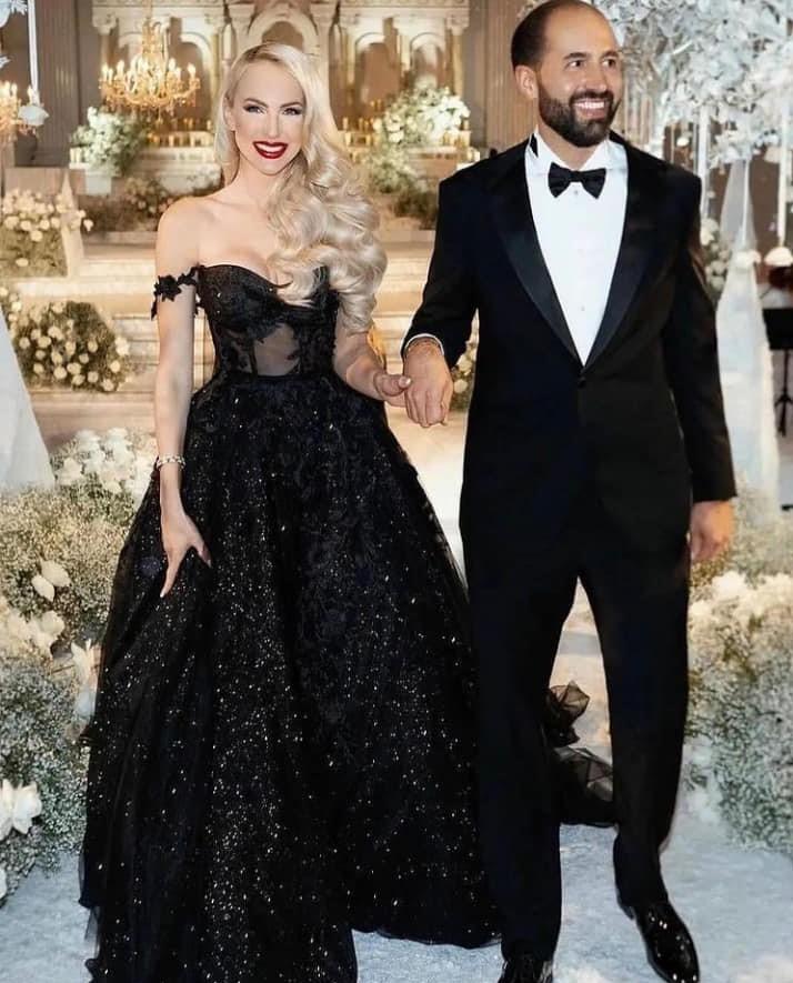 Dramatic black wedding gown
