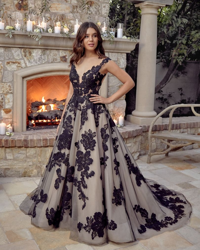 Black lace overlay wedding gown